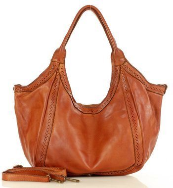 MARCO MAZZINI Torebka handmade leather shopper bag brąz camel